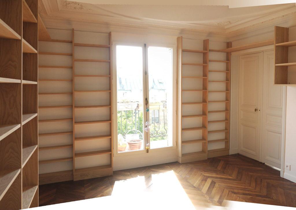 Bibliothèque structure chêne